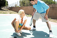 Britney Amber takes her skirt off after a tennis match and gets her meat hole banged by big piece of meat