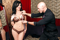 Veronica Avluv takes her expensive lingerie for her tailor and gets screwed by his throbbing hard dong on the sofa