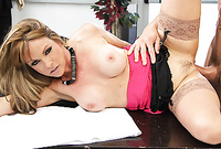 Shayla Leveaux takes her sexy black skirt off and gets her hungry shaved vagina drilled by big throbbing piece of meat