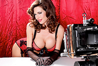 Veronica Avluv teases us in expensive sexy red lingerie and shows us her fantastic round big melons