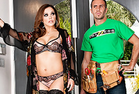 Francesca Le stirps her classy black lace lingerie off and then pleases her well hung lover with an amazing deep blowjob