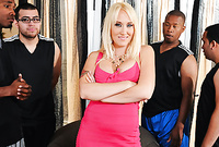 Alana Evans takes her slutty pink dress and pleases her hung lover with an amazing deep blowjob