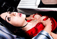 Angell Summers strips her sexy red satin shirt off and then gets her wet meat hole banged hard