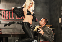 Jazy Berlin takes her sexy black leather lingerie off and then fucks with a hung biker