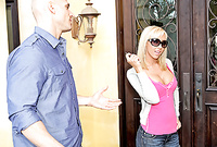Jessica Lynn screams and shouts as Taylor Wane puts his massive hung tool deep inside her gaping wet muff