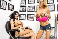 Romi Rain and Sarah Jessie strip their lingerie and have intensive hardcore sex before the camera