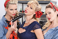 Abbey Brooks, Nikki Benz and Phoenix Marie strip their classy lingerie and have fantastic oral dyke sex before the camera