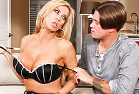 Amber Lynn and Bradley Remington strips her lingerie for her handsome lover with an incredible deep blowjob
