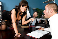Lisa Ann strips her sexy black dress on the desk and then fucks with a good looking, horny dude
