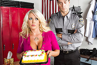 Alura Jensen takes her slutty outfit before the cop and then gets her hungry mature cunt drilled by his stiff hard dong