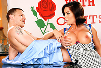 Diamond Foxxx takes her slutty apron off and gets her shaved pussy ravaged by her tattooed lover's huge dong