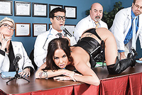 Brandy Aniston takes her sexy black leather lingerie and then gets her shaved vagina banged by large boner