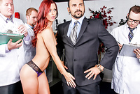 Karlie Montana takes her sexy black lace panties off and gets her meat hole drilled by large dong