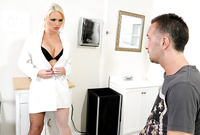 Alexis Ford takes her sexy white coat off and then gets her shaved meat hole drilled by throbbing fat dong