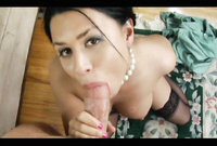 Eva Angelina takes her lingerie off and pleases her handsome lover and passionately blows a big stiff dong