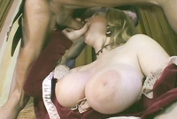 Victoria Rose exposes her amazing big jugs and pleases her handsome lover with an amazing blowjob