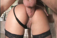 Belladonna takes her classy lingerie off and gets her hungry muff drilled by big piece of hard wood