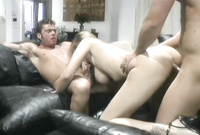 Julia Ann kneels before her hansome lover and sucks his throbbing piece of meat