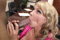 Shayla LaVeaux kneels before her good looking, handsome lover and passionately blows a throbbing piece of black meat