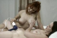 Veronica Snow and her alluring dyke lover remove their sexy lingerie before the camera and have wild passionate sex with their big toy