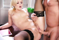 Alexis Texas spreads her sexy black stockings in front of the camera and gets her deep, shaved muff drilled hard