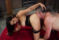 Kelly Divine strips her sexy black lingerie and gets her hungry bush drilled by big piece of big hard meat