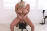 Abbey Brooks shows us her amazing big jugs as she takes a wild ride on big throbbing piece of hard wood