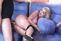 Taylor Wane takes her black panties off on the sofa and gets her hungry vagina drilled by big stiff cock
