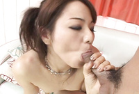 Miina goes down on her knees before her handsome lover and passionately sucks his big hard cock