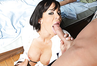 Savannah Stern shows us her beautiful big jugs and then swallows her lover's throbbing hard meat pole