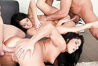 Adele Sunshine takes all of her clothes before the camera and gets her shaved pussy banged hard and fast