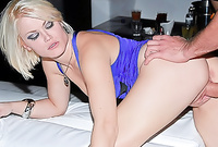 Ash Hollywood takes all of her clothes in front of the camera and gets her wet meat hole drilled from behind