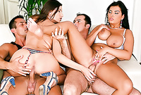 Jasmine Black and her slutty busty friends strip on the sofa and get their wet pussies drilled by one throbbing piece of meat