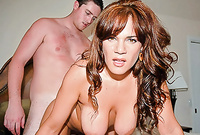 Danni Daire shows us her fantastic round breasts and moans while she gets her tight vagina drilled hard and fast
