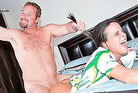 Daisy Duxe screams and moans while she gets her tight vagina drilled hard and fast before the camera