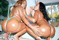 Tosha and her slutty black friend strip together before the camera and have intensive passionate sex