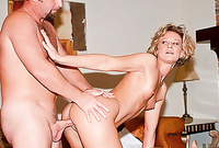 Bianca screams and moans while she gets her tight vagina drilled by throbbing piece of hard wood from behind