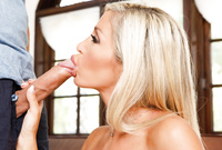 Evita Pozzi goes down on her knees and treats her handsome lover with an amazing deep head job