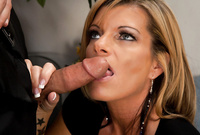 Kristal Summers kneels before her handsome lover with an amazing deep blowjob for the camera