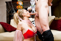 Julian Ann goes down on her knees and treats her good looking lover with an amazing deep blowjob