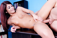 Dahlia Denyle strips her clothes for the camera and gets her muff nailed hard and fast