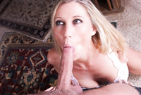 Devon Lee takes her white lingerie off and gives an incredible deep warm blowjob