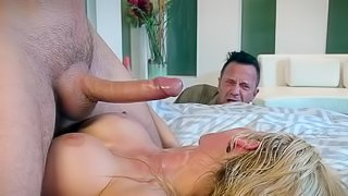 Cheating wife tries over sized cock in her needy cunt