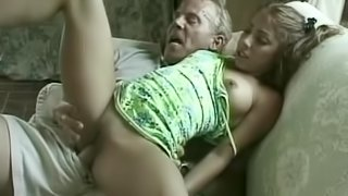 Teen Melody Love gets her tight pussy fucked by an old man